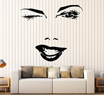 Amazoncom Vinyl Decal Woman Beautiful Sexy Face Eyes Lips Smile - Wall decals eyes