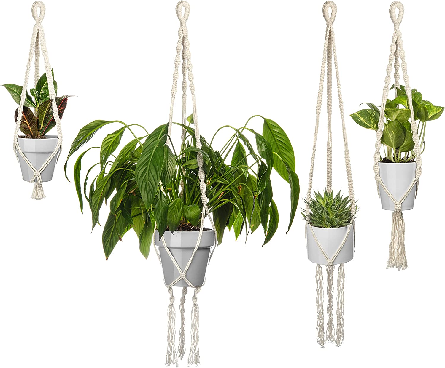 Macrame Plant Holders by MySmarterStyle-Indoor or Outdoor pots Hangers for Your Flowers or Succulent Plants Decor – Set of 4 Hanging Wall Planter Holders