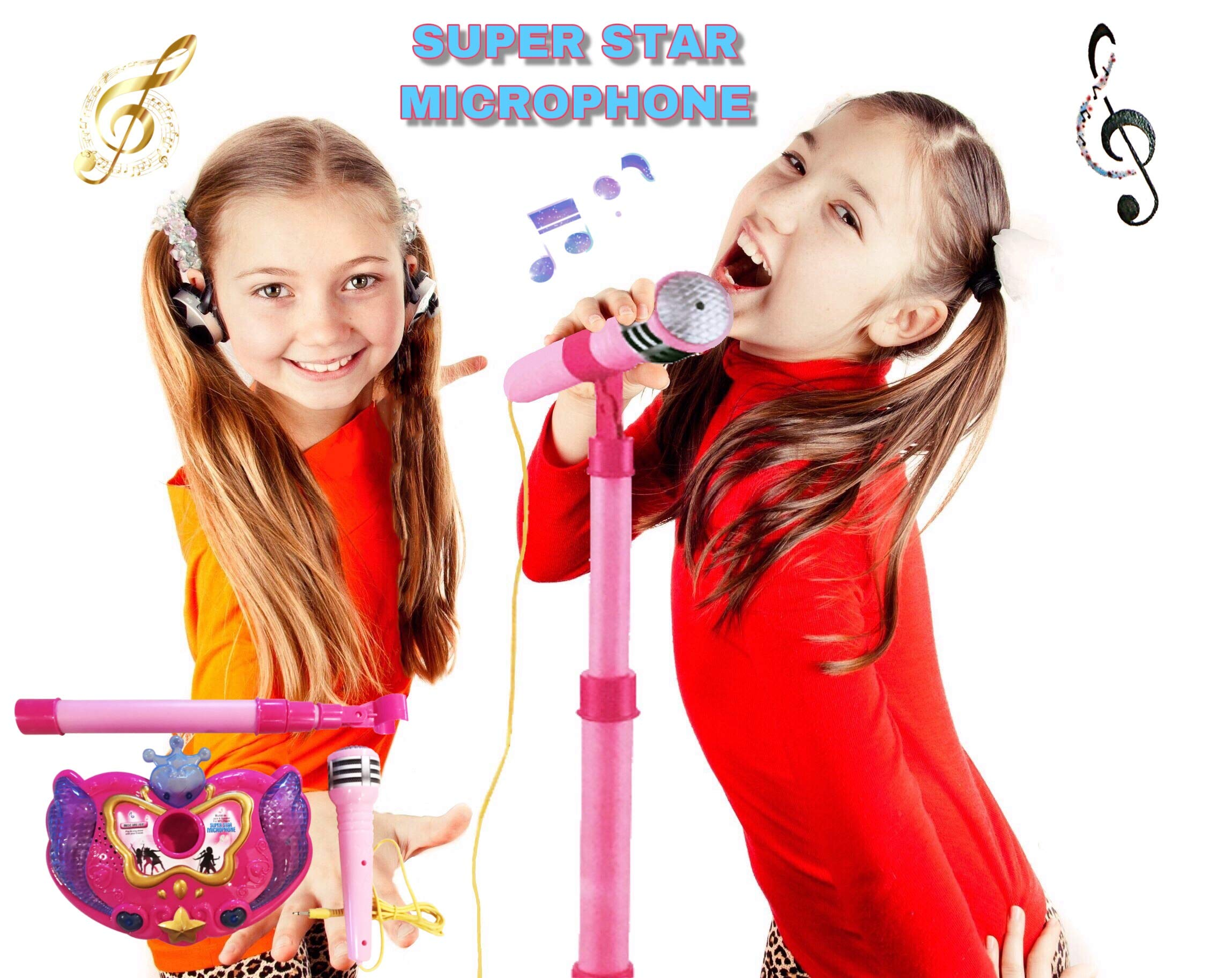 LilPals Princess Karaoke -Children's Toy Stand Up Microphone Play Set w/ Built-in MP3 Player, Speaker, Adjustable Height (Pink) by LilPals (Image #6)