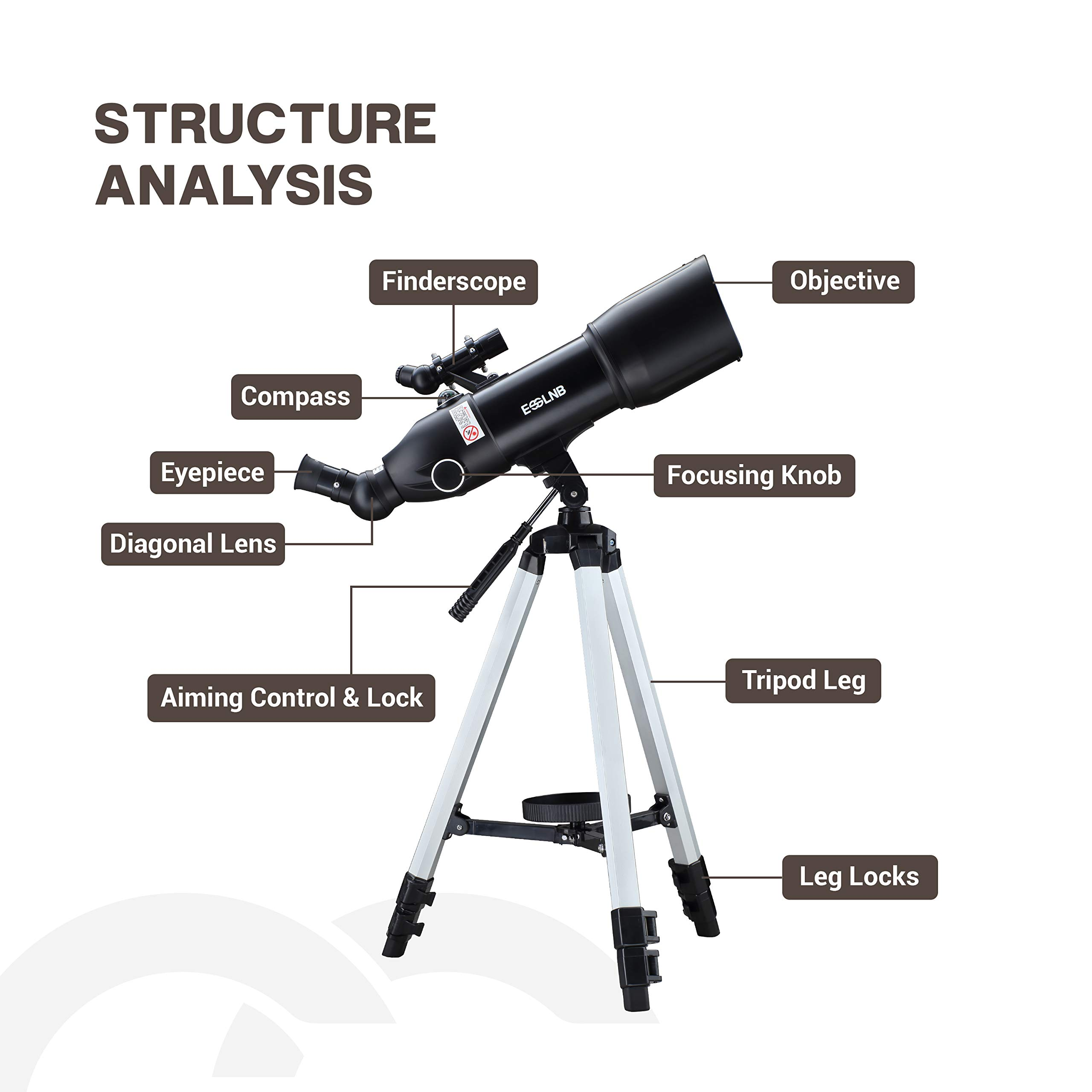 ESSLNB Telescopes for Adults Astronomy Beginners Kids 400X80mm with 10X Smartphone Adapter Adjustable Tripod Case and Moon Filter Erect-Image Diagonal Prism by ESSLNB (Image #9)