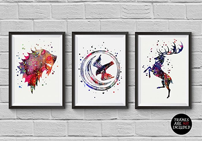 Amazon Game Of Thrones Watercolor House Symbols Poster Set 3