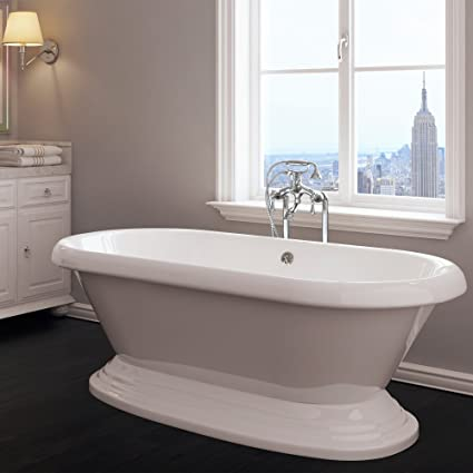 Luxury 60 Inch Freestanding Tub With Vintage Tub Design In White, Includes  Pedestal Base And