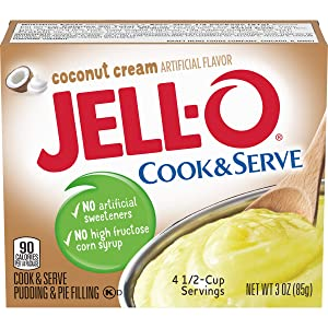 Jell-O Cook & Serve Coconut Cream Pudding & Pie Filling (3 oz Boxes, Pack of 6)