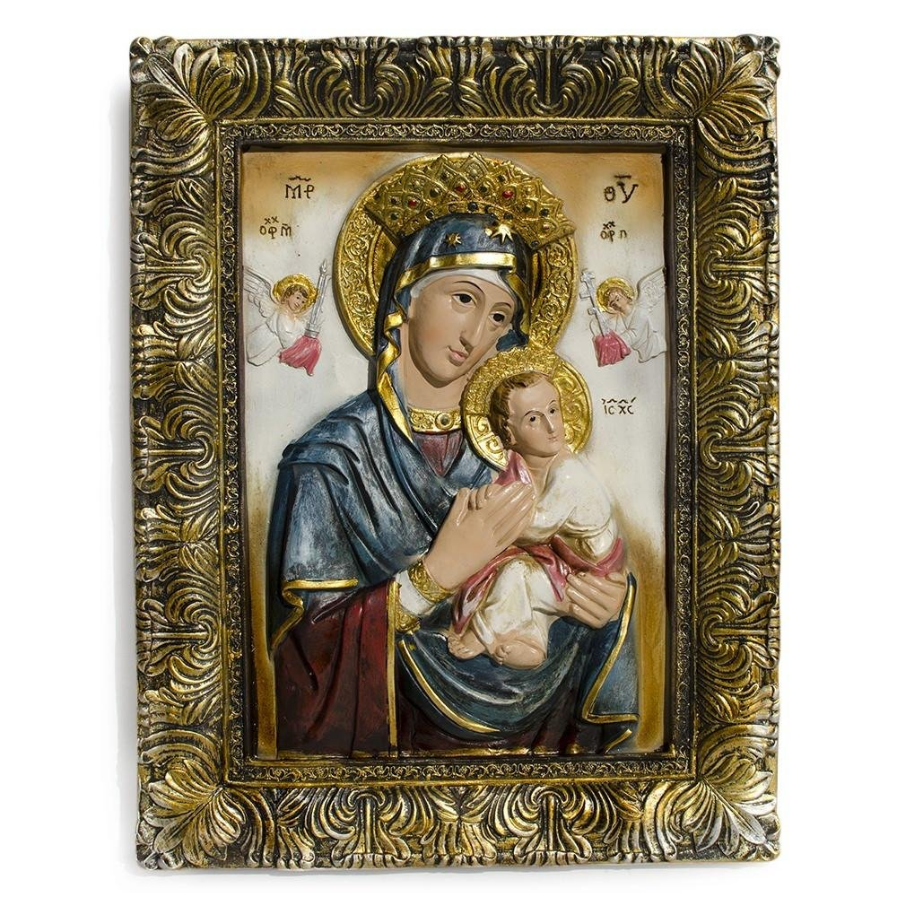 12'' Mary with Jesus Christ Hand Painted Icon
