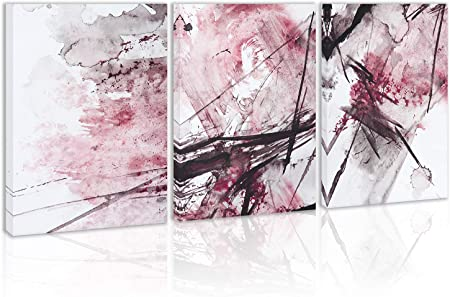 Amazon Com Modern Abstract Wall Art Decor Pink Black And White Canvas Painting Kitchen Prints Pictures For Home Living Dining Room Posters Prints