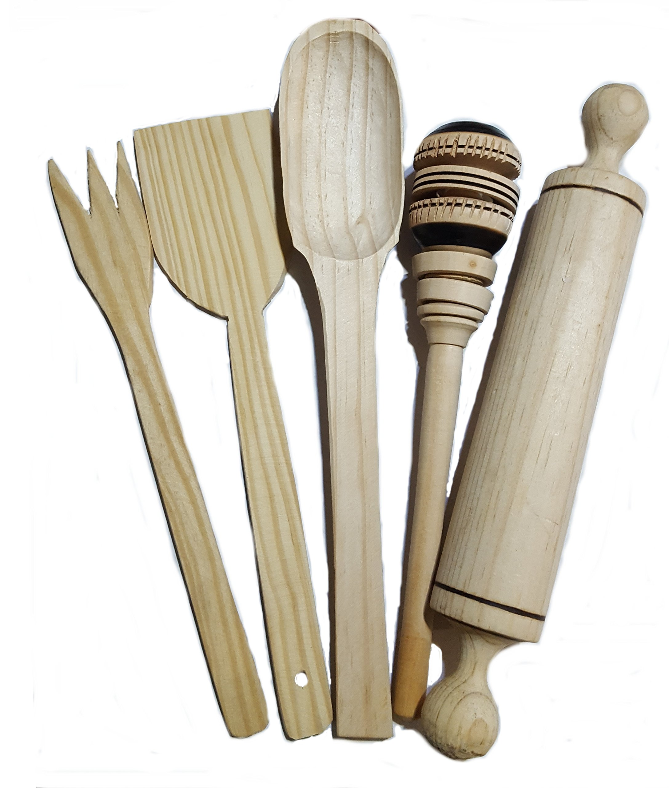 Traditional Mexican wooden cooking set 5 pieces