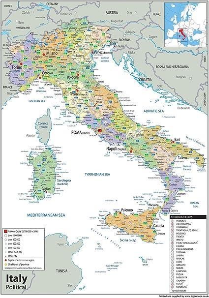 Cartina Italia Amazon.Italia Mappa Politica Carta Plastificata A1 Misura 84 1 X 118 9 Cm Amazon It Cancelleria E Prodotti Per Ufficio