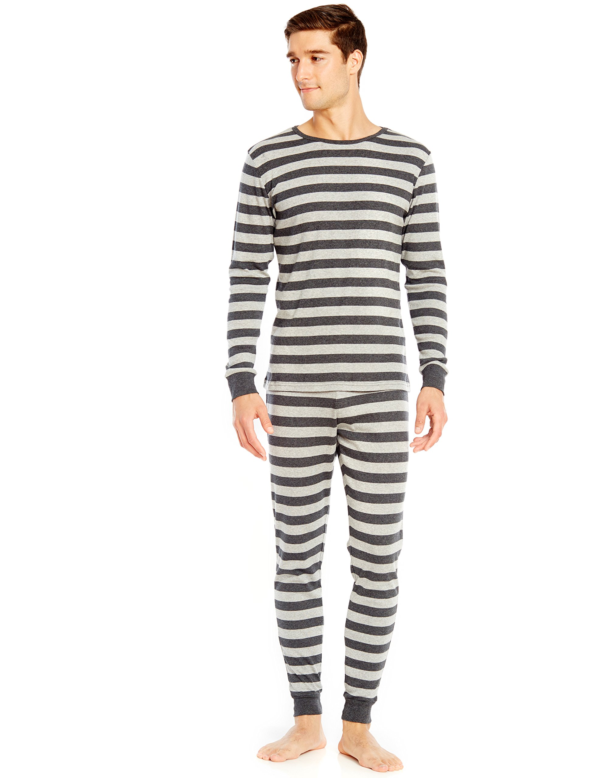 Leveret Mens Light Grey & Dark Grey Striped 2 Piece Pajama Set 100% Cotton Large