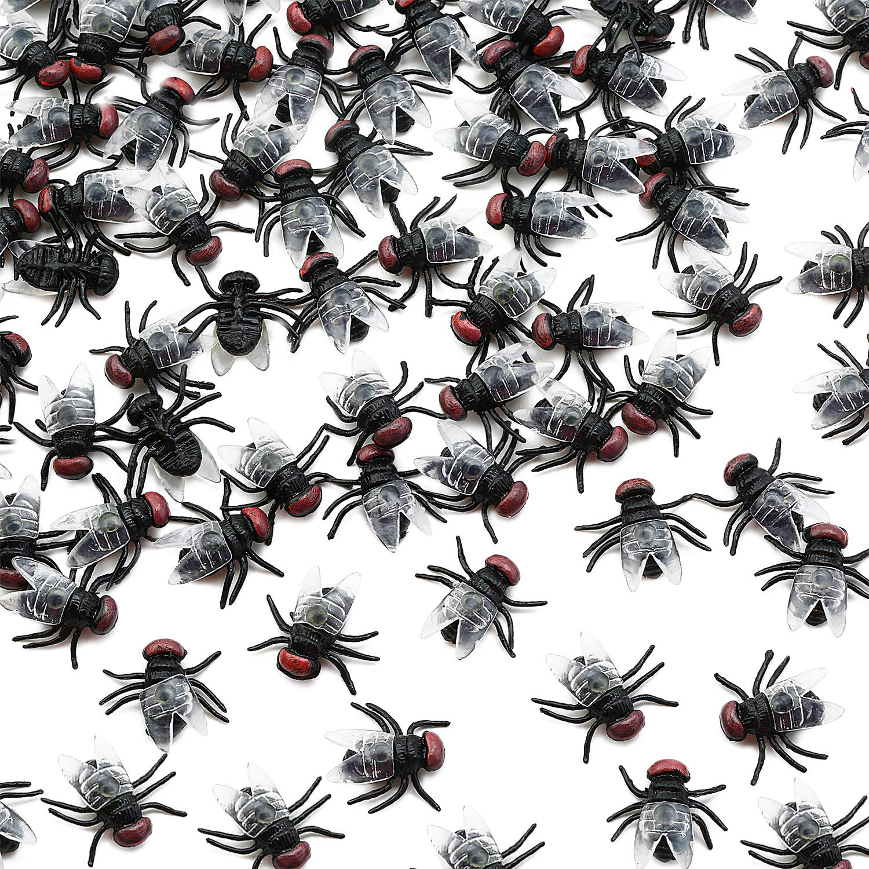 100-piece Flies Insect Bugs Model Figure Kids Toys Halloween Prank Jokes