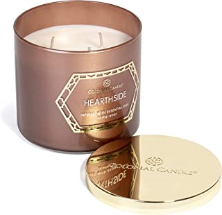 product image for Colonial Candle Hearthside, The Geo Luxe Collection, Highly Scented Candle in Decorative Colored Glass Jar, Medium 14.5 OZ