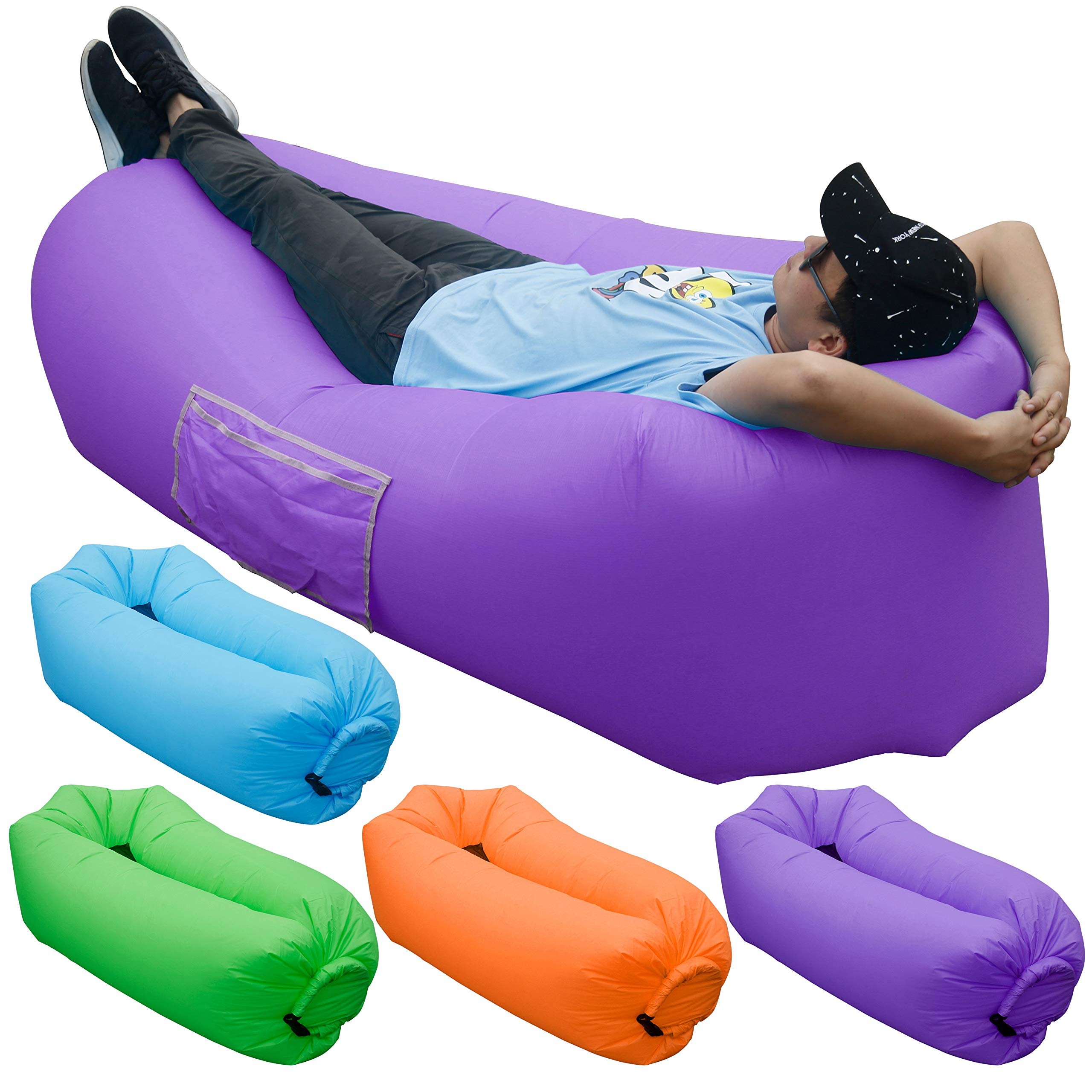 Maple Leaf Inflatable Sofa, Portable Inflatable Lounge Chair for Beach Gear & Sleep Accessories & Camping Couch & Beach Camping & Back Yard Pool Beach Parties,Purple by SKOLOO