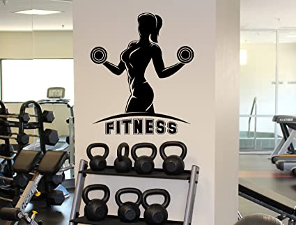 Woman gym wall decal fitness female sport vinyl sticker home wall