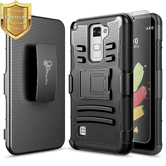 super popular 32b93 a46e0 NageBee LG Stylo 2 V Case, LG Stylo 2 LTE (LS775 K540) w/ [Tempered Glass  Screen Protector], [Heavy Duty] Shock Proof [Belt Clip] Holster [Kickstand]  ...