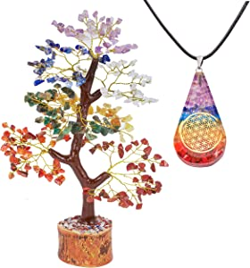 QUIPSA 7 Chakra Golden Crystal Tree Drop Pendant Feng Shui Good Luck Energy Healing Crystals Gemstones Buddha Statue for Home Decor Gifts Chakra Sculpture Office Desk Decorations ( with Drop Pendant)