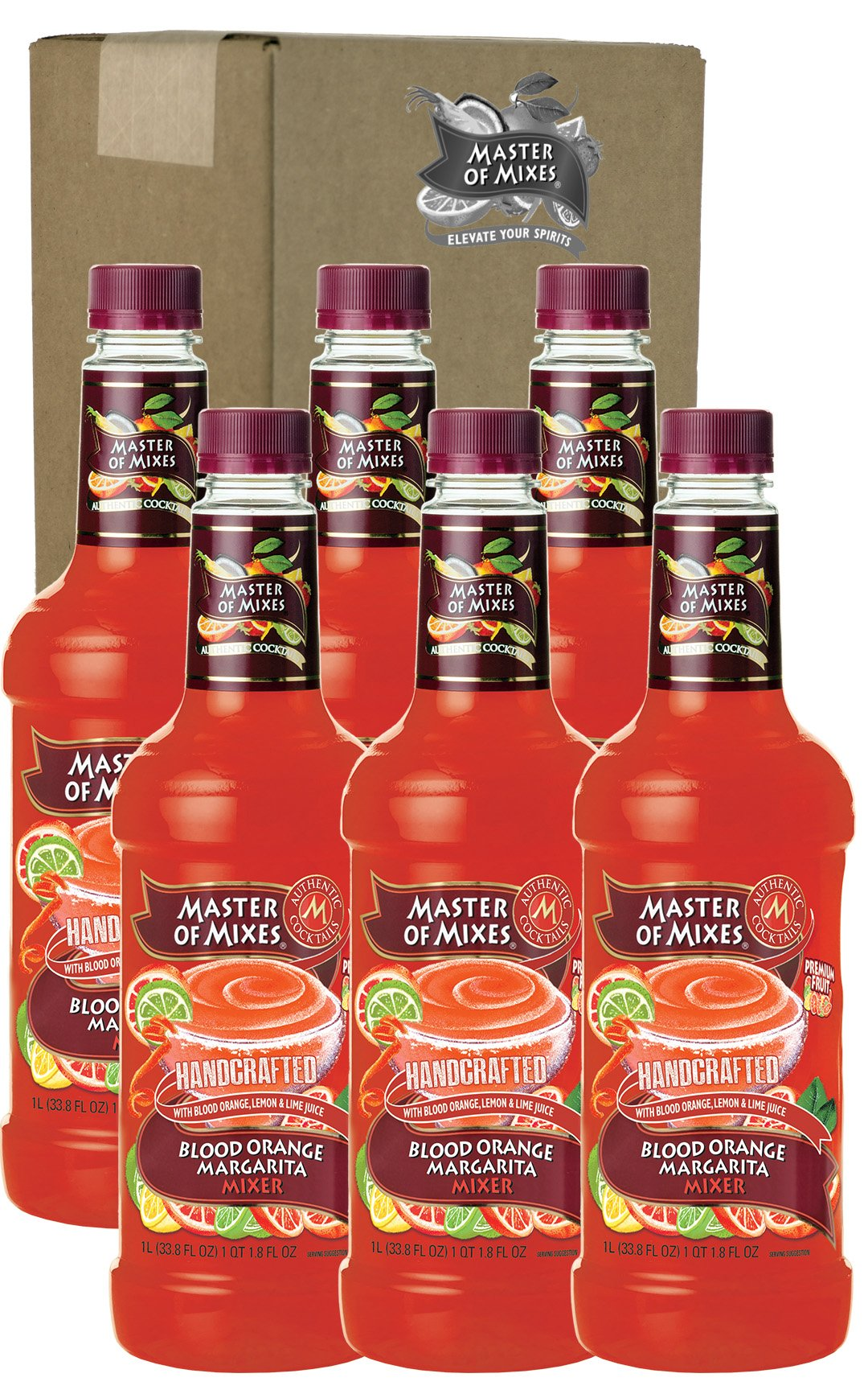 Master of Mixes Blood Orange Margarita Drink Mix, Ready To Use, 1 Liter Bottle (33.8 Fl Oz), Pack of 6 by Master of Mixes
