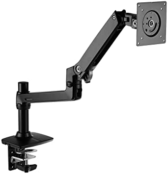 AmazonBasics Premium Single Monitor Stand - Lift Engine Arm Mount, Aluminum - Black