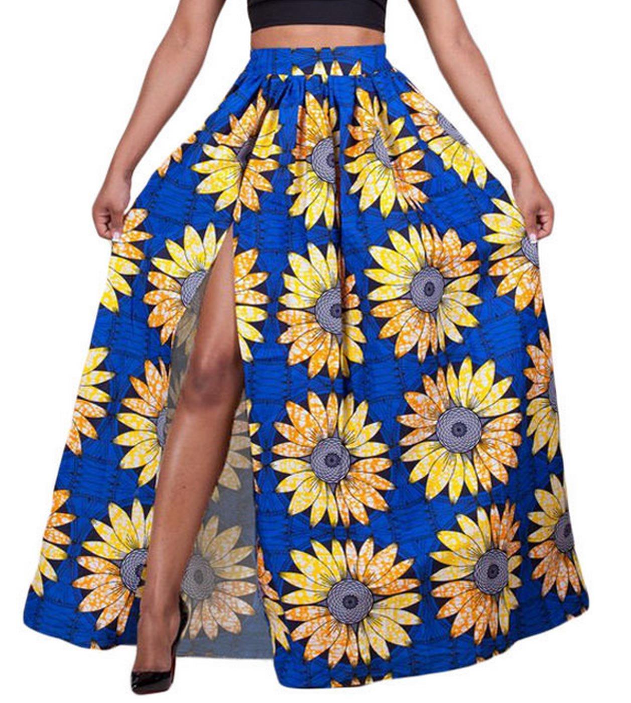 Women African Floral Pleated Patterned Long Elastic Adjustable Waist Split Skirt Blue Size 8-10