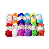 LIHAO 12 Skeins Mini Yarn for Knitting Crochet Craft - 100% Acrylic