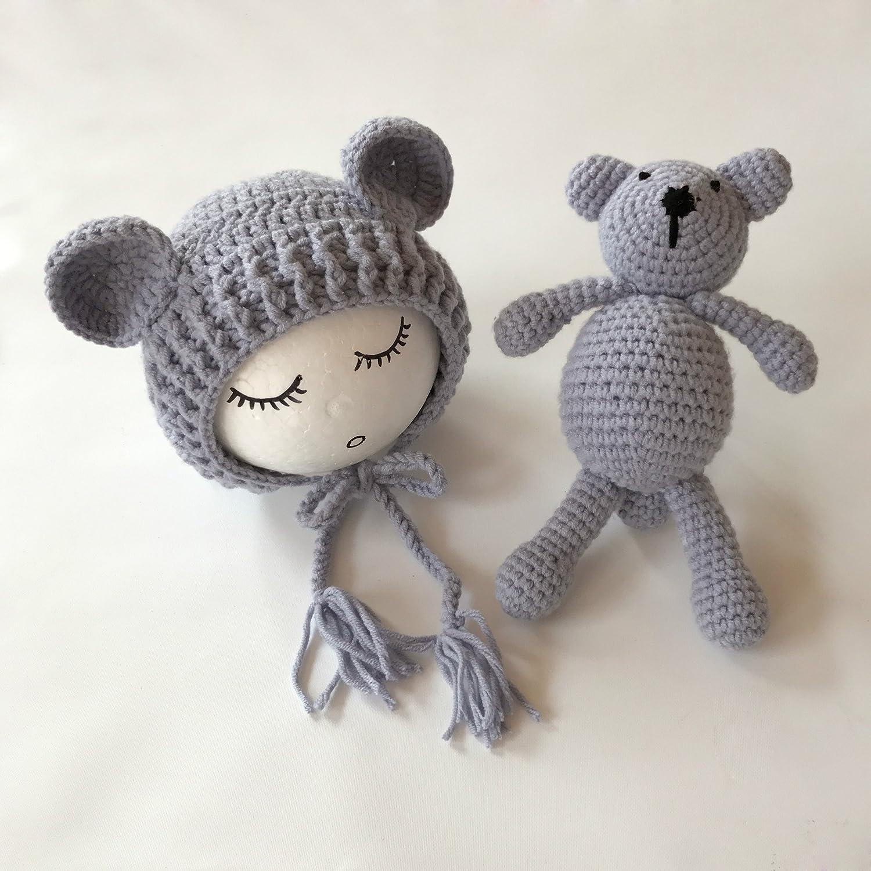 Neugeborene Baby Fotografie Requisiten Boy Girl Crochet Kostüm Outfits Hat Bär Set … (Blue) Binlunnu