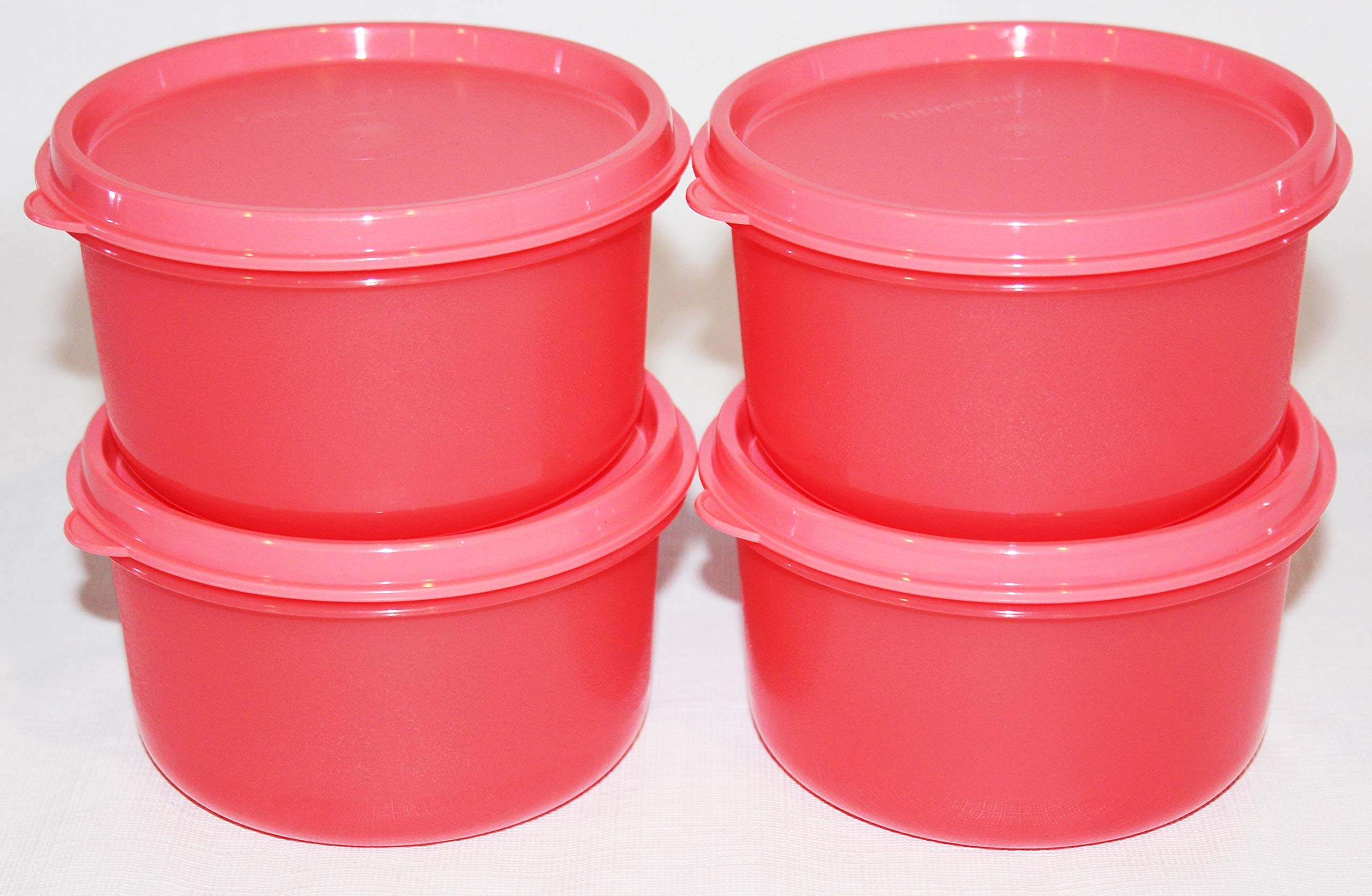 Tupperware Set of 4 Serving Center Bowls 14 Ounce Guava Pink