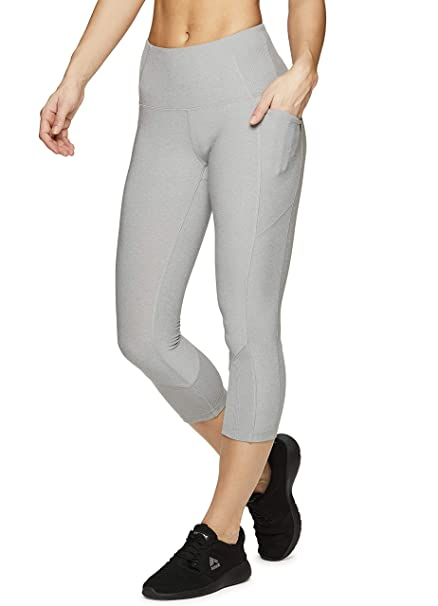 744fe34be052c RBX Active Women's Ribbed Pocket Running Yoga Capri Leggings Ribbed Grey S