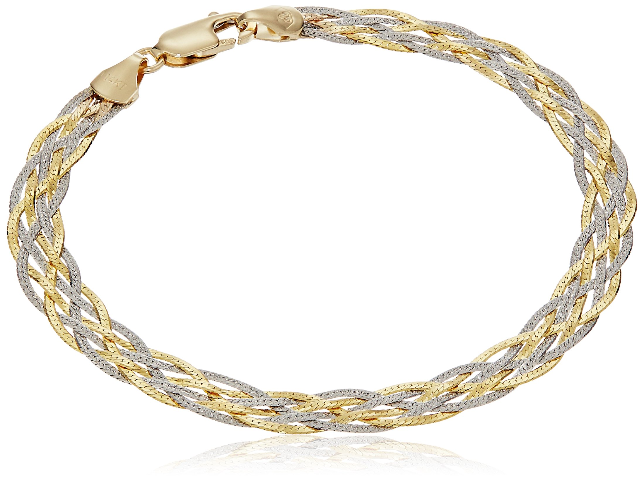 14k Gold Two-Tone Yellow and White Textured Braided Herringbone Chain Link Bracelet, 7''