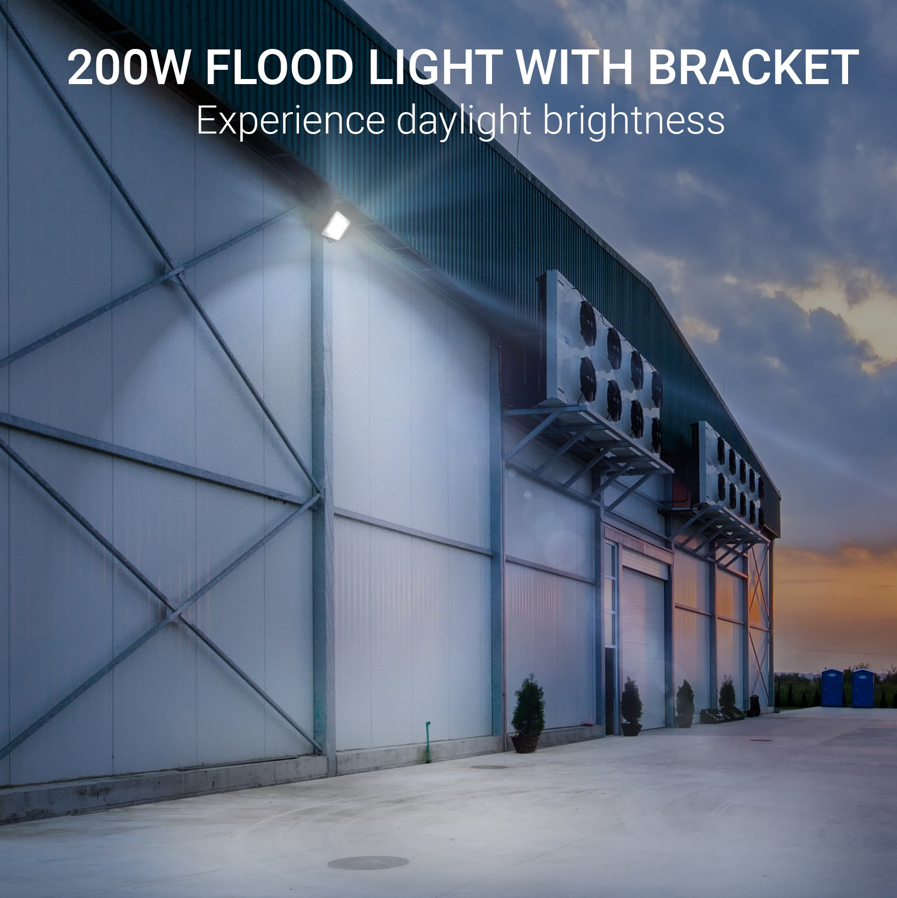 Hyperikon LED Flood Light 200W (1000 Watt Eq.) 180° Rotatable Bracket, 5000k,16000 Lm, Super Bright Outdoor LED Floodlight, Weatherproof IP65, Suitable for Dry and Damp Locations, 110V, 2-Pack by Hyperikon (Image #5)