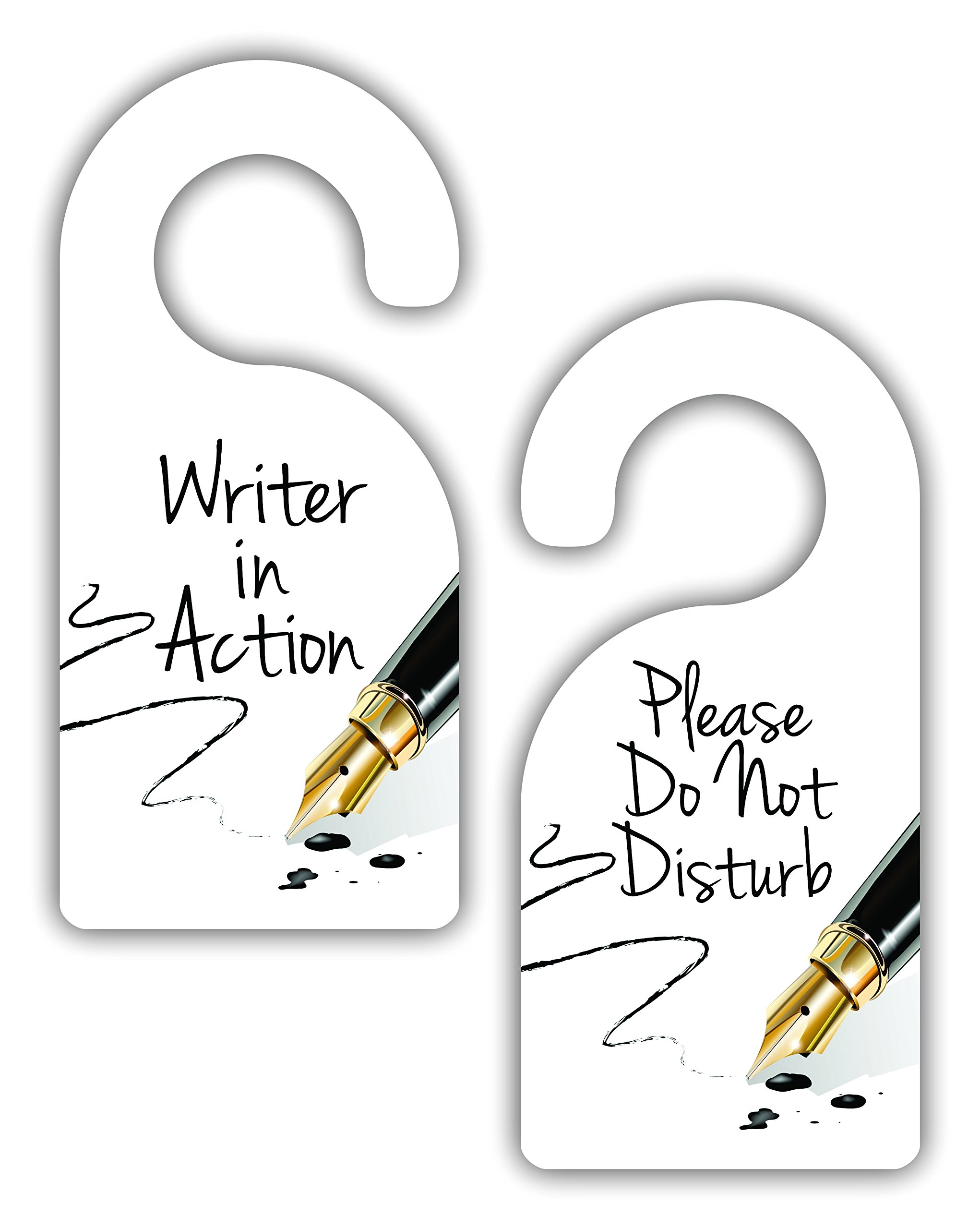 Writer in Action/Please Do Not Disturb - Author/Writer - Double-Sided Hard Plastic Glossy Door Hanger