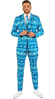 Ugly Xmas Sweater Costumes Include Jacket Pants /& Tie Suitmeister Christmas Suits for Men in Different Prints Blue Snowman,S