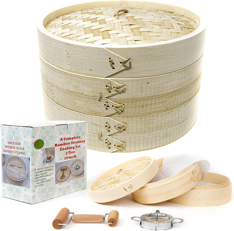 Bamboo Steamer 10 inch set with rolling pin, mold cutter & reusable liners - Bamboo Steamer basket to cook frozen food, vegetables, momo, fish, crab - bun dim sum, Japanese dumpling maker set