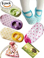 BS▒ 5 Pairs 8-36 Months Baby Girl Toddler Anti Slip Skid foot Socks + Gift bag + Gift Card, Stripes No-Show Crew Boat Socks Footsocks sneakers, 9-15cm