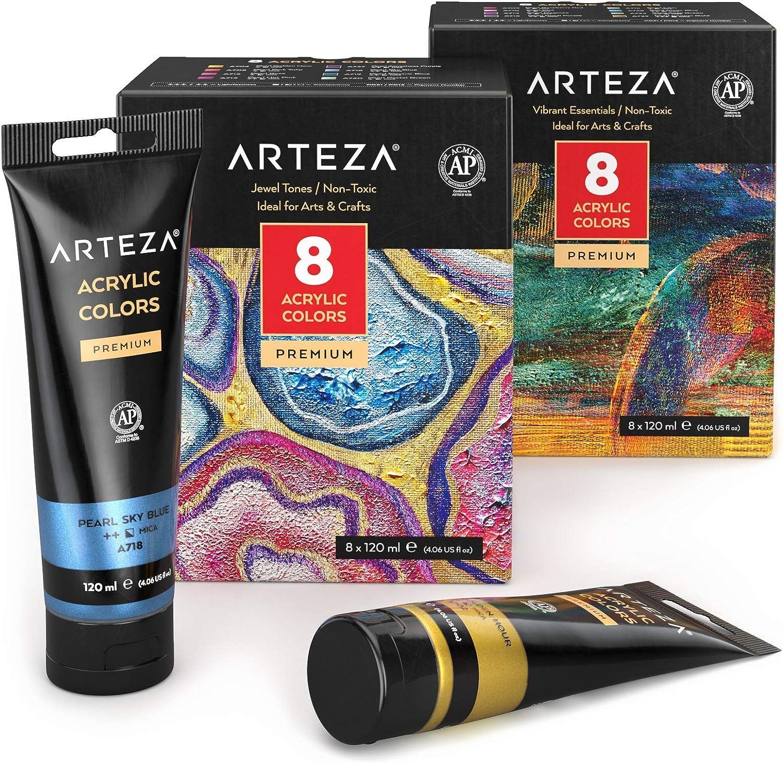 Arteza Metallic Acrylic Paint Bundle: Jewel and Essentials Colors
