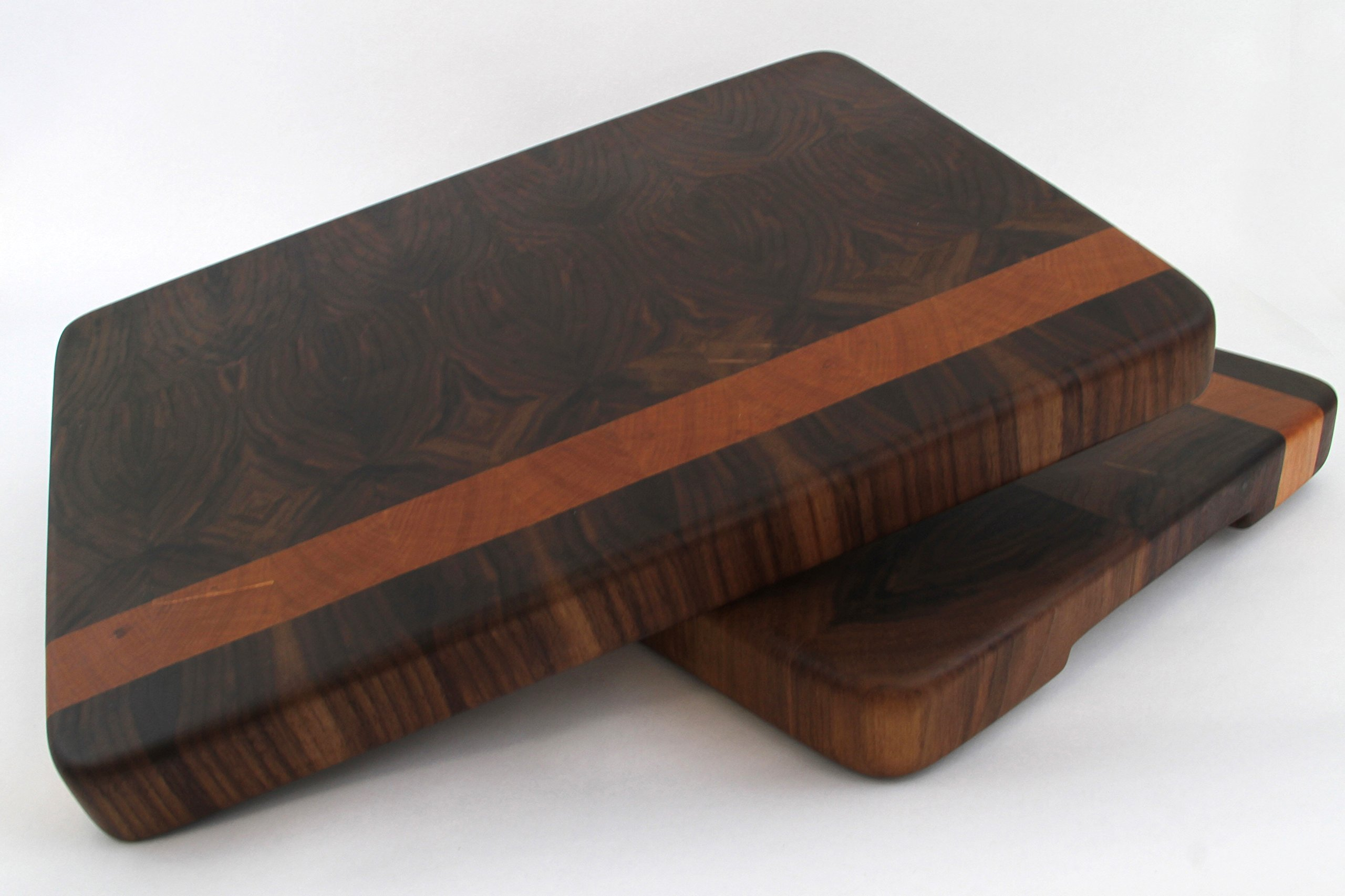 Handcrafted Wood Cutting Board - Edge Grain - Cherry & Walnut. No slip and easy grips. For him or her, Chefs or cooks