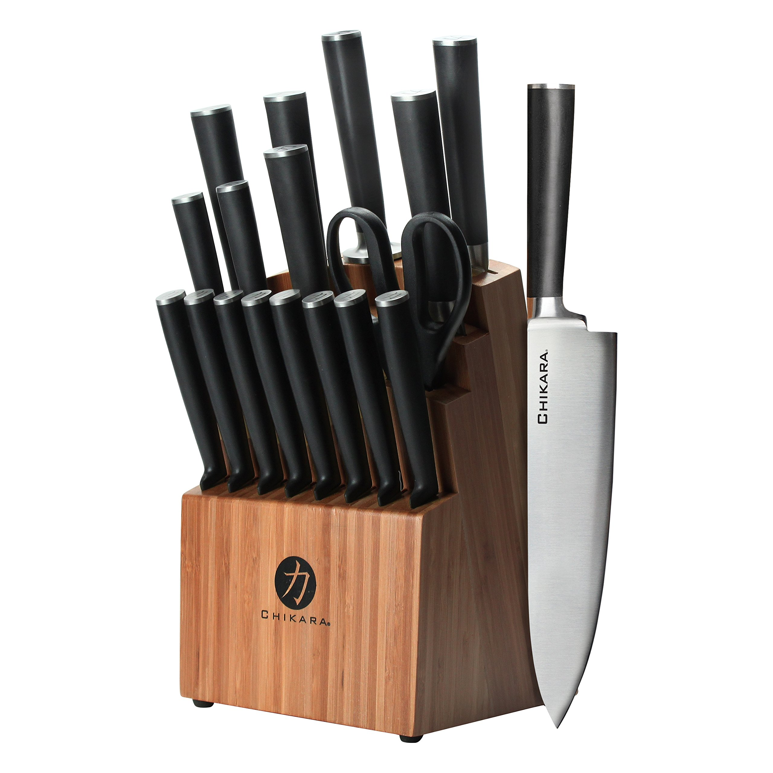 Ginsu Gourmet Chikara Series Forged 19-Piece Japanese Steel Knife Set – Cutlery Set with 420J Stainless Steel Kitchen Knives – Bamboo Finish Block, 07133DS