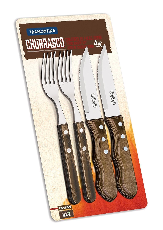 Tramontina Jumbo Carne Cuchillo & Tenedor Set 4 Piezas Con ...