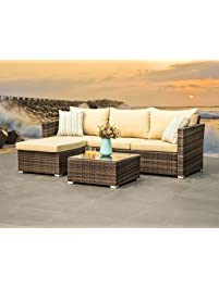 outdoor patio furniture wicker sectional sofa 4seater all weather deep seating set