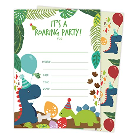 Dinosaur Happy Birthday Invitations Invite Cards (25 Count) with Envelopes and Seal Stickers Vinyl Boys Girls Kids Party (25ct)