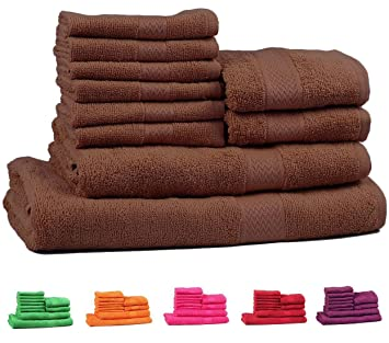 Trident 400 g/m², Juego de 10 toallas de algodón (baño, mano y cara), Madera Inglesa: Amazon.es: Hogar
