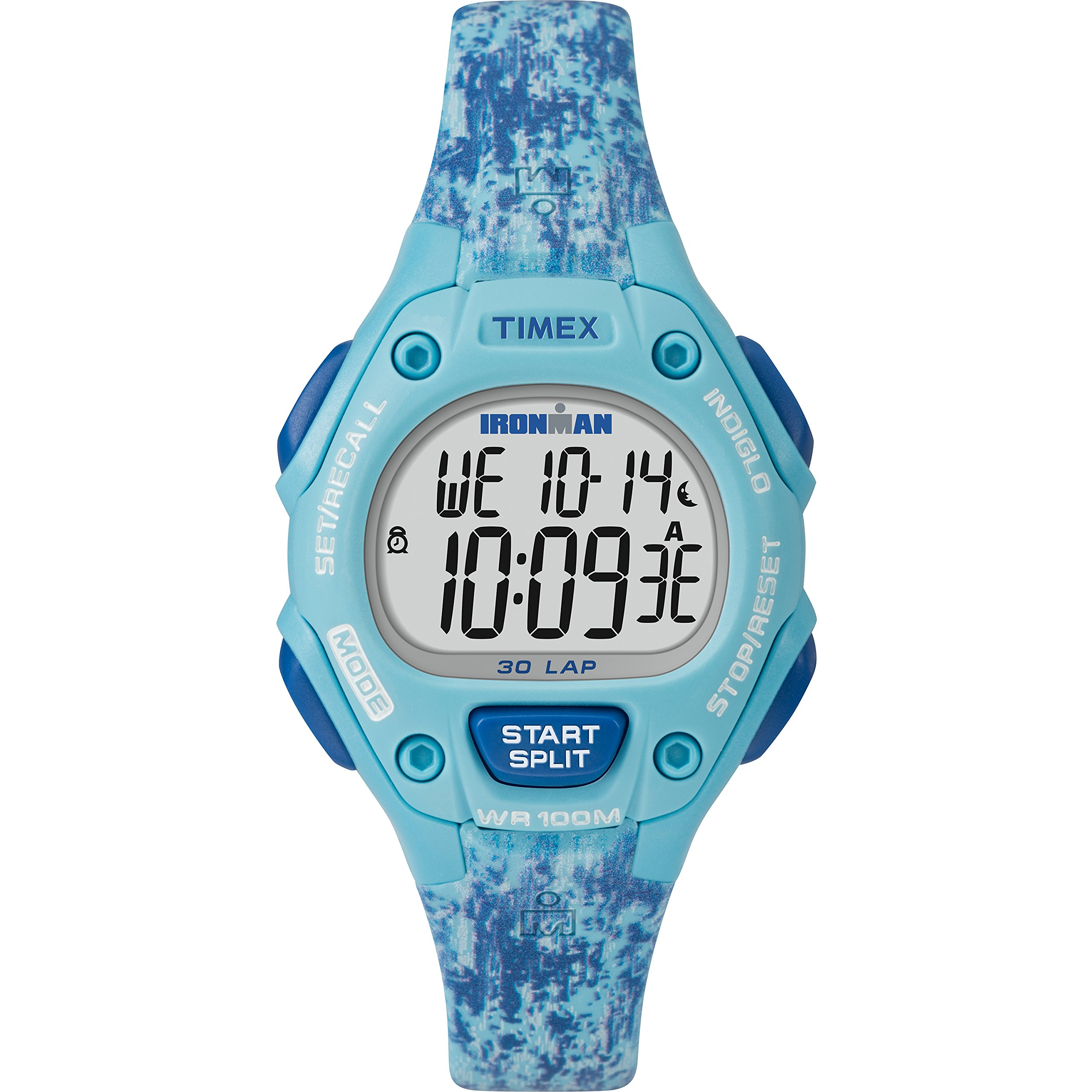 Timex Women's TW5M16200 Ironman Classic 30 Mid-Size Blue Dye Pattern Resin Strap Watch by Timex