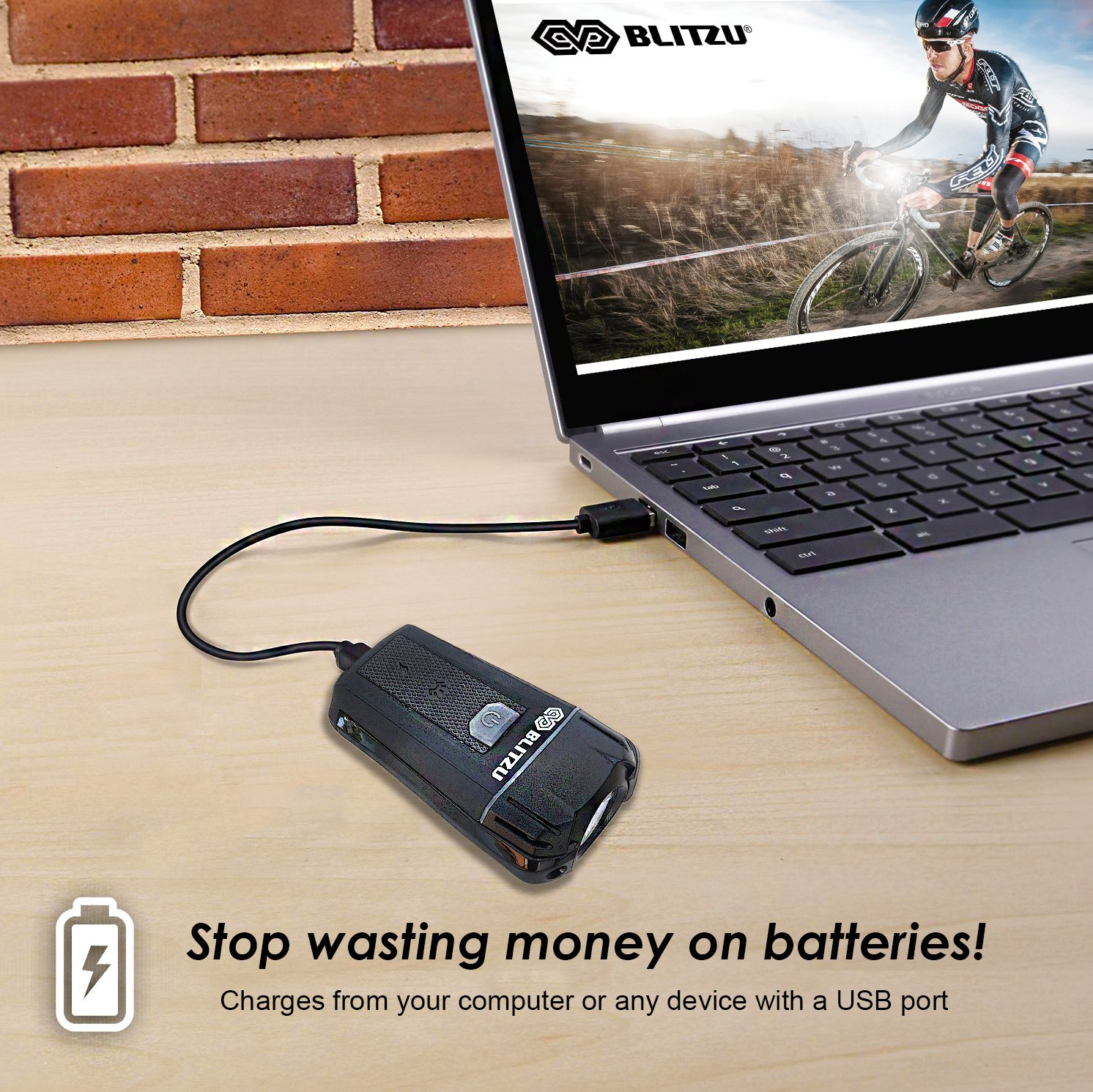 BLITZU Gator 380 USB Rechargeable Bike Light Set POWERFUL Lumens Bicycle Headlight FREE TAIL LIGHT, LED Front and Back Rear Lights Easy To Install for Kids Men Women Road Cycling Safety Flashlight by BLITZU (Image #3)