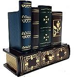 Pencil Holder Pen Holder, Reading Glass Desktop Organizer with Bottom Drawer Library Books Design Wooden Office Supply Caddy