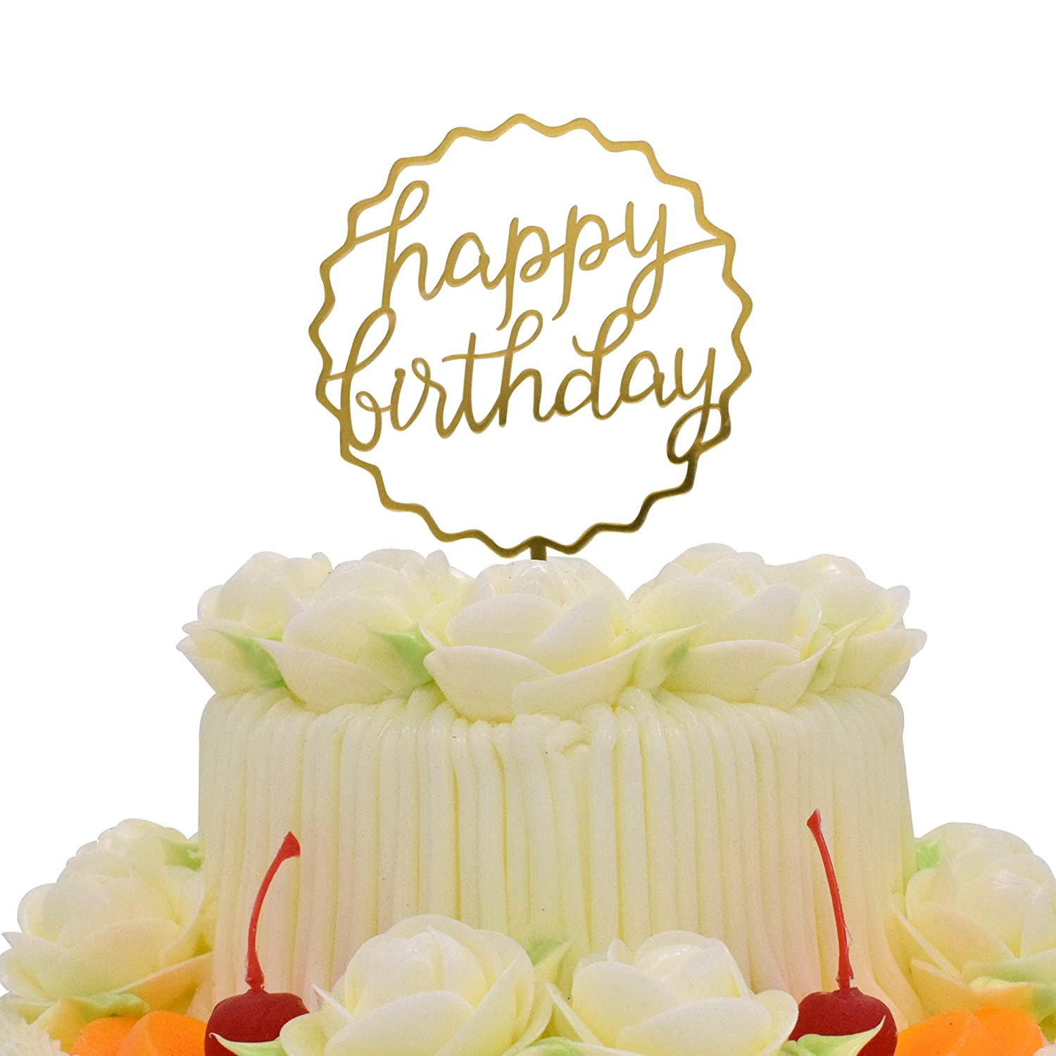 Happy Birthday Cake Topper KOOTIPS Acrylic Gold Twinkle DIY Glitter First Cupcake Smash Candle Alternative Party Handmade Wave