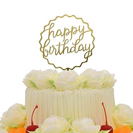 Amazon Happy Birthday Cake Topper KOOTIPS Acrylic Gold Twinkle