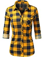 J.TOMSON Women's Casual Roll Up Long Sleeve Plaid Shirt