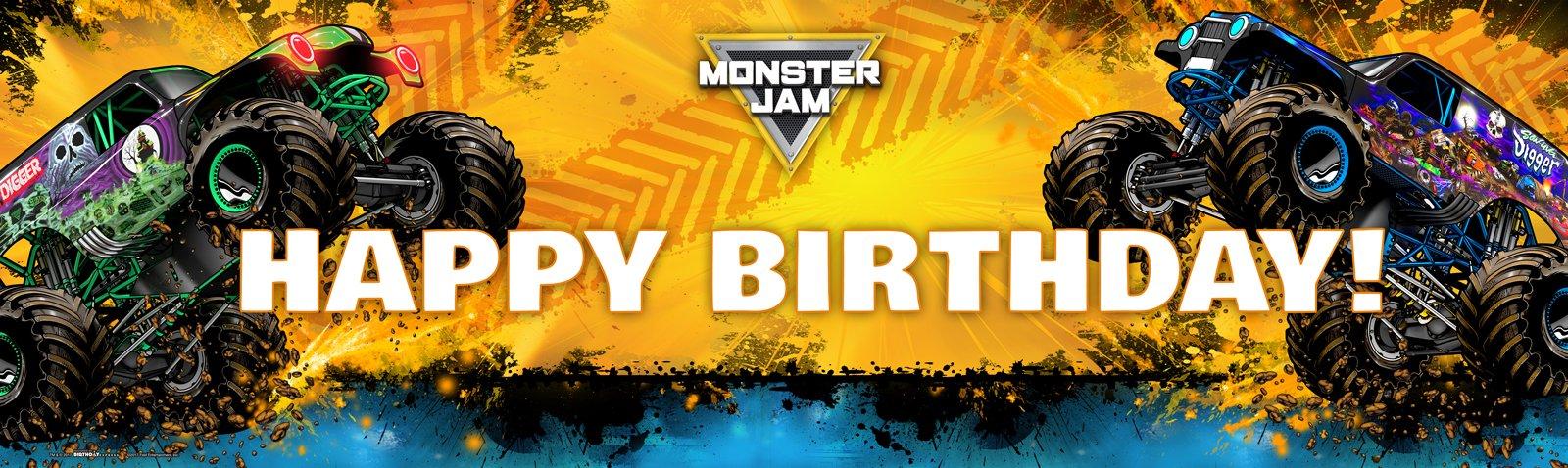 Monster Jam - Birthday Party Supplies - Vinyl Birthday Banner 18'' x 61'' by BirthdayExpress