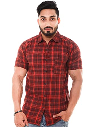 e80aa9f9611 Twist Men's Regular Fit Formal/Semi Casual Cotton Half Sleeve Checks Shirts  with Contrast & Free Shipping