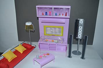 barbie size dollhouse furniture modern comfort living room family room tv home audio couch light amazoncom barbie size dollhouse