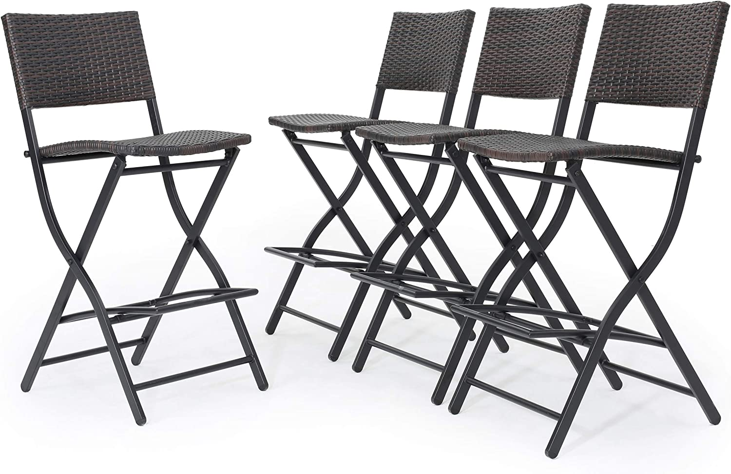 Christopher Knight Home 300304 Marinelli Outdoor Multibrown Wicker Barstools Set of 4