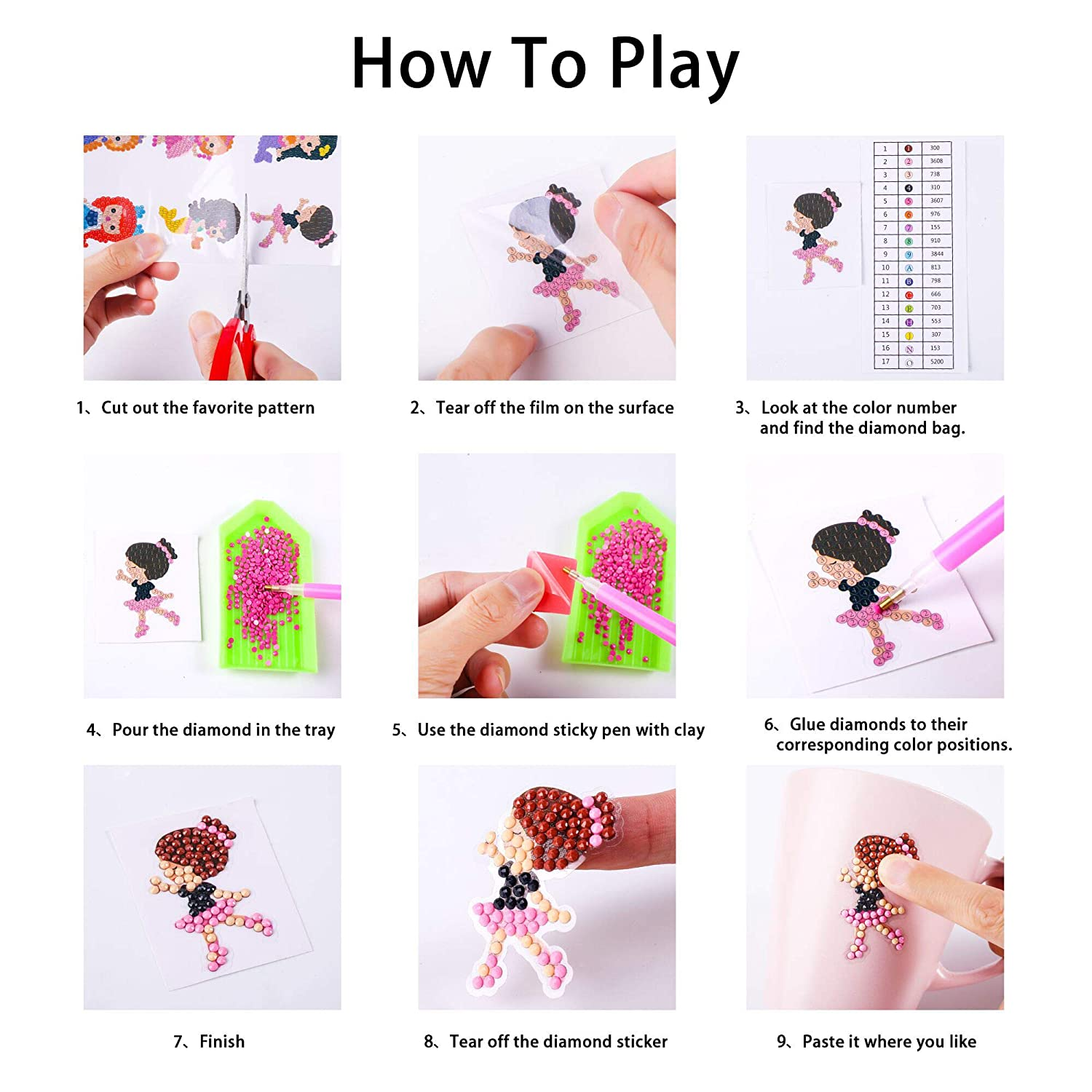 Princesses Dance Girls Fairies 5D DIY 18PCS Diamond Painting Kits for Kids Stickers and Adult Beginners Paint with Diamonds Kits Arts Crafts Easy to Paint Best Gift