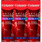 Colgate, Optic Renewal Teeth Whitening Toothpaste with Fluoride Hydrogen Peroxide Pack, White, High Impact White, 3 ounce- pa